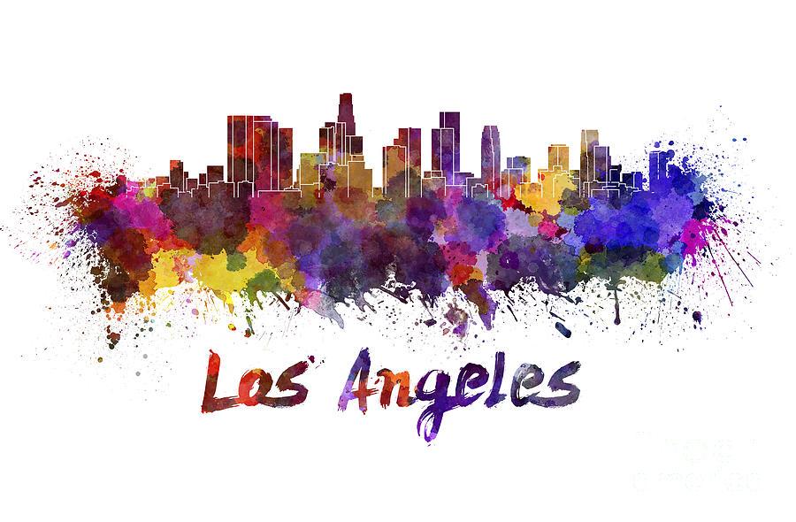 los-angeles-skyline-in-watercolor-pablo-romero
